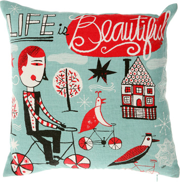 A pillow for sale at Urban Outfitters with an illustration by Nate Williams.