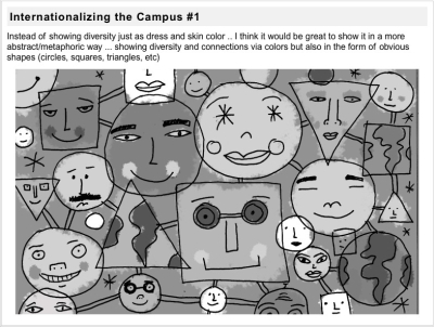 Nate Williams' sketch for internationalizing the campus.