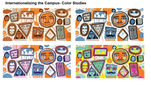 Nate Williams' color studies for internationalizing the campus.