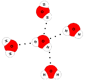 Close-up of a water molecule (center) engaging in hydrogen-bonding to four other water molecules.